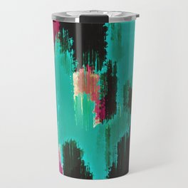 red pink purple green and black painting abstract background Travel Mug