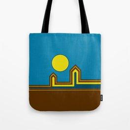 Line Houses with Yellow Sun Tote Bag