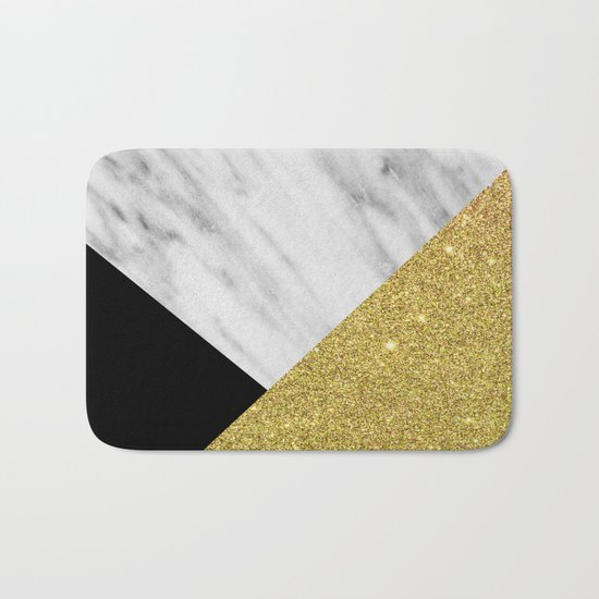 Marble & Gold Geometry Bath Mat