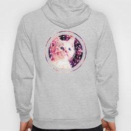 cute white stare gaze kitty splatter watercolor Hoody