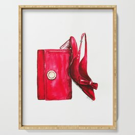 """""""The Red Shoe"""" Watercolor Fashion Illustration Serving Tray"""