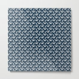 Anchor Pattern - White and Navy Blue Metal Print