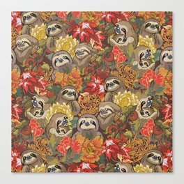 Because Sloths Autumn Canvas Print