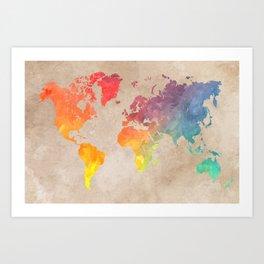 World Map Maps #map #maps #world Art Print