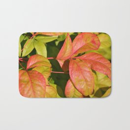 Summery Pink and Green Leaves Bath Mat