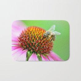 Bee on purple flower Bath Mat