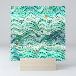 Green Geode Watercolor Mini Art Print