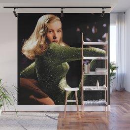 Classic Veronica Lake Portrait in Green - Jeanpaul Ferro Wall Mural