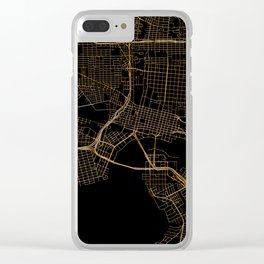 Black and gold Jacksonville map Clear iPhone Case