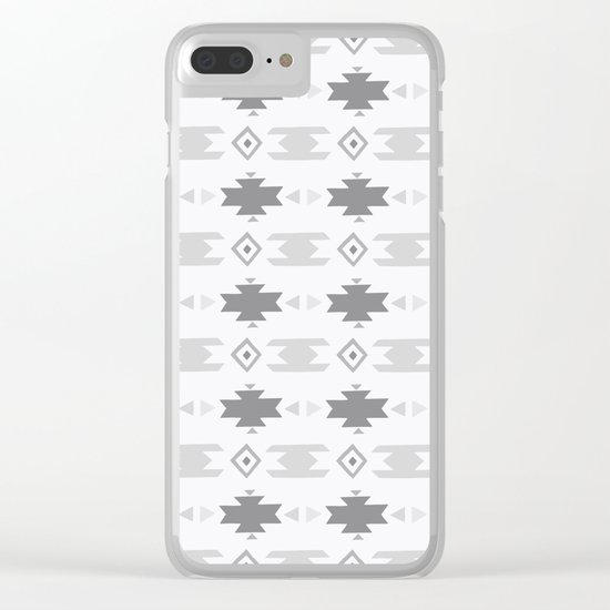 Southwestern Pattern Gray Cream Clear iPhone Case