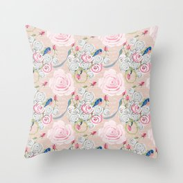 Watercolor Roses and Blush French Script Throw Pillow
