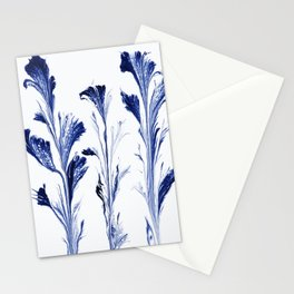 Painted Flowers In Blue Stationery Cards
