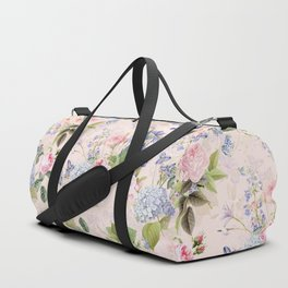 Vintage & Shabby Chic - Pink Redouté Roses Bouquets Pattern Duffle Bag