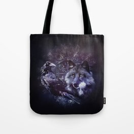Raven and Wolf - Vegvisir and Tree of life Tote Bag