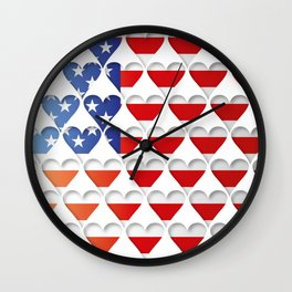 USA Hearts Flag Wall Clock
