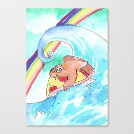 surfing sloth pizza rainbow Canvas Print