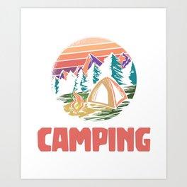 Camping tent camping campfire gift Art Print