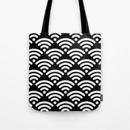 WiFi Pattern (white on black) Tote Bag