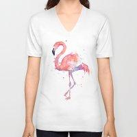 flamingo V-neck T-shirts featuring Flamingo  by Olechka