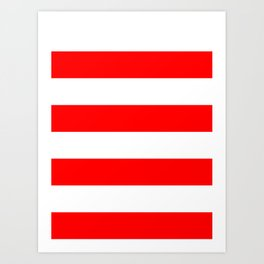 Wide Horizontal Stripes - White and Red Art Print