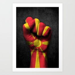 Macedonian Flag on a Raised Clenched Fist Art Print
