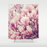magnolia Shower Curtains featuring Magnolia by Juste Pixx Photography