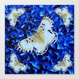 WHITE-PURPLE BUTTERFLIES BLUE MODERN ART Canvas Print