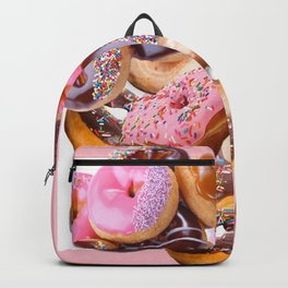 MODERN ART PINK & CHOCOLATE DONUT PASTRY MONTAGE Backpack