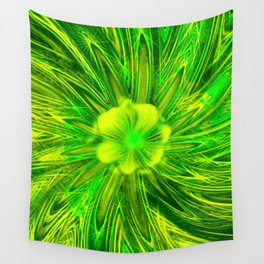 Abstract Lines Green Flower Wall Tapestry