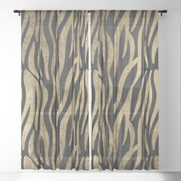 Modern elegant black faux gold trendy zebra animal print Sheer Curtain
