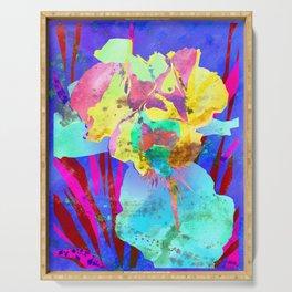 Fluorescent Watercolor Iris Art - Purple & Aqua Blue Serving Tray