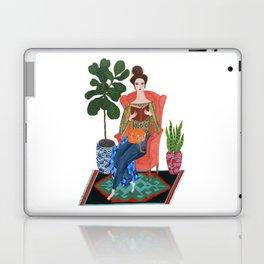 Cat lady reading Laptop & iPad Skin