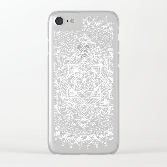White Flower Mandala on Black Clear iPhone Case