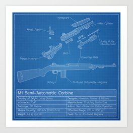 M1 Carbine Blueprint Art Print