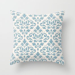 Scroll Damask Big Pattern Blue on Cream Throw Pillow