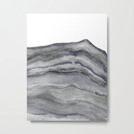 Watercolor Agate in Gray Metal Print