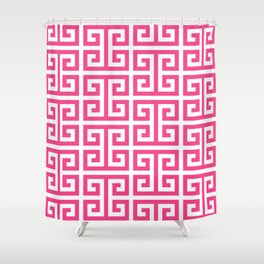 Large Pink and White Greek Key Pattern Shower Curtain