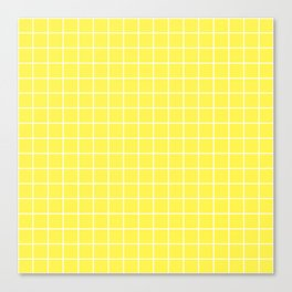 Lemon yellow - yellow color - White Lines Grid Pattern Canvas Print