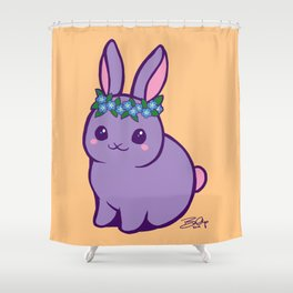 Baby Bunny has Forget Me Nots Shower Curtain