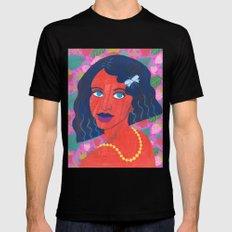 Strawberry Girl Black SMALL Mens Fitted Tee