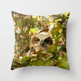 Baby owl in spring blossoms Throw Pillow