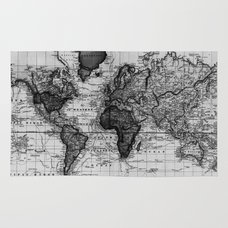 Black and white world map 1630 rug by bravuramedia society6 rug vintage map of the world 1833 white black gumiabroncs Images