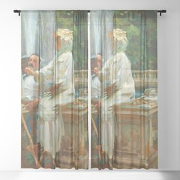 "John Singer Sargent ""The Fountain, Villa Torlonia, Frascati, Italy"" Sheer Curtain"