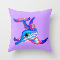 dolphin Throw Pillows featuring dolphin by giol's