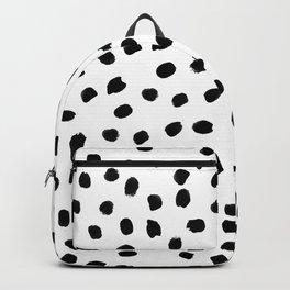 Black daps on white Backpack