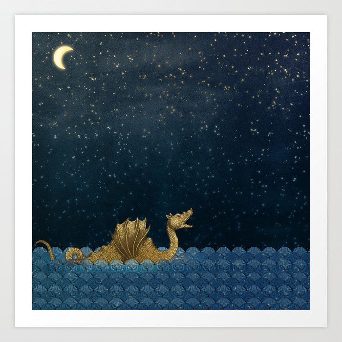 Sea Monster & Stars Night Sky Kunstdrucke