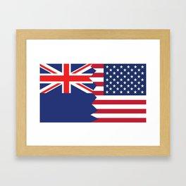 Half New Zealand American Flag Framed Art Print