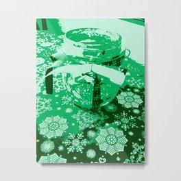 Green Glass Jar Metal Print