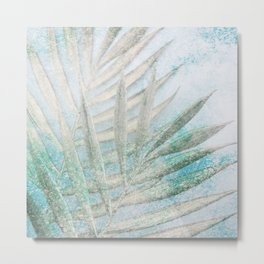 palm branch tropical turquoise aesthetic botanical art altered photography Metal Print