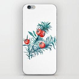 Watercolor Yew Berries iPhone Skin